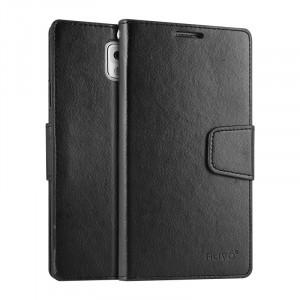 Чехол портмоне подставка на силиконовой основе на магнитной защелке для Samsung Galaxy Note 3  Черный