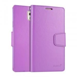 Чехол портмоне подставка на силиконовой основе на магнитной защелке для Samsung Galaxy Note 3  Фиолетовый