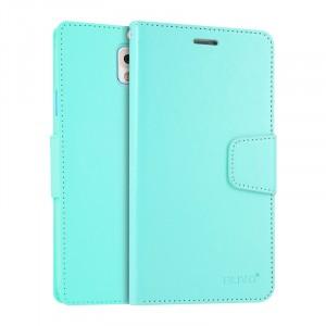 Чехол портмоне подставка на силиконовой основе на магнитной защелке для Samsung Galaxy Note 3  Голубой
