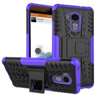 Эргономичный двухкомпонентный силиконовый матовый непрозрачный чехол с нескользящими гранями, поликарбонатными бампером и крышкой и встроенной ножкой-подставкой для Huawei Honor 5C  Фиолетовый