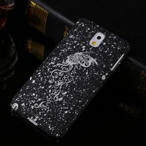Пластиковый непрозрачный матовый чехол с голографическим принтом Звезды для Samsung Galaxy Note 3  Белый