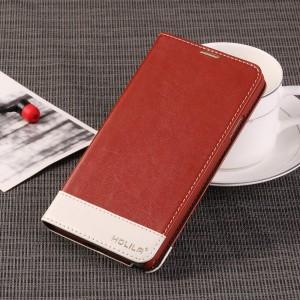 Глянцевый водоотталкивающий чехол портмоне подставка на пластиковой основе для Samsung Galaxy Note 3  Коричневый