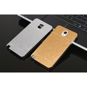 Пластиковый непрозрачный матовый чехол с металлической крышкой для Samsung Galaxy Note 3
