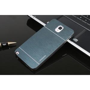 Пластиковый непрозрачный матовый чехол с металлической крышкой для Samsung Galaxy Note 3 Синий