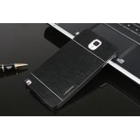 Двухкомпонентный пластиковый непрозрачный матовый чехол с металлической крышкой для Samsung Galaxy Note 3  Черный
