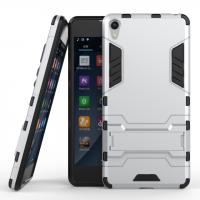 Противоударный двухкомпонентный силиконовый матовый непрозрачный чехол с поликарбонатными вставками экстрим защиты с встроенной ножкой-подставкой для Sony Xperia E5 Белый