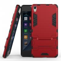 Противоударный двухкомпонентный силиконовый матовый непрозрачный чехол с поликарбонатными вставками экстрим защиты с встроенной ножкой-подставкой для Sony Xperia E5 Красный