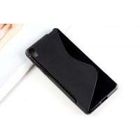 Силиконовый матовый непрозрачный чехол с дизайнерской текстурой S для Sony Xperia E5  Черный