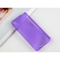 Силиконовый матовый непрозрачный чехол с дизайнерской текстурой S для Sony Xperia E5  Фиолетовый