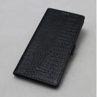 Кожаный чехол горизонтальная книжка (премиум нат. кожа крокодила) с крепежной застежкой для Sony Xperia E5 Черный