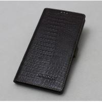 Кожаный чехол горизонтальная книжка (премиум нат. кожа крокодила) с крепежной застежкой для Sony Xperia E5 Коричневый