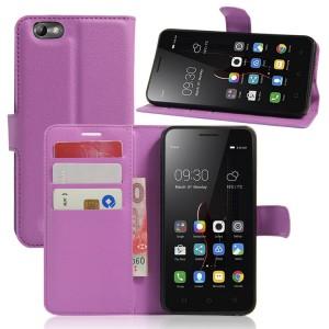 Чехол портмоне подставка на силиконовой основе на магнитной защелке для Lenovo Vibe C  Фиолетовый