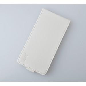 Глянцевый чехол вертикальная книжка на пластиковой основе на магнитной защелке для Lenovo Vibe C  Белый