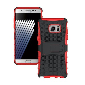 Противоударный двухкомпонентный силиконовый матовый непрозрачный чехол с поликарбонатными вставками экстрим защиты с встроенной ножкой-подставкой для Samsung Galaxy Note 7