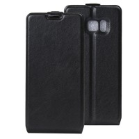 Чехол вертикальная книжка на силиконовой основе с отсеком для карт на магнитной защелке для Samsung Galaxy Note 7  Черный