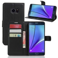 Чехол портмоне подставка на силиконовой основе на магнитной защелке для Samsung Galaxy Note 7  Черный