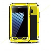 Цельнометаллический противоударный чехол из авиационного алюминия на винтах с мягкой внутренней защитной прослойкой для гаджета с прямым доступом к разъемам для Samsung Galaxy Note 7  Желтый