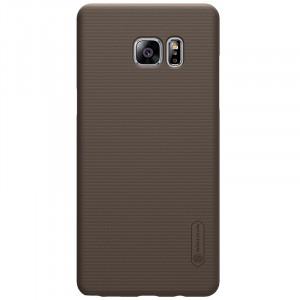 Пластиковый непрозрачный матовый нескользящий премиум чехол для Samsung Galaxy Note 7  Коричневый
