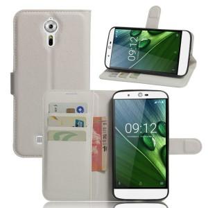 Чехол портмоне подставка на силиконовой основе на магнитной защелке для Acer Liquid Zest Plus  Белый