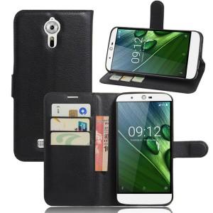 Чехол портмоне подставка на силиконовой основе на магнитной защелке для Acer Liquid Zest Plus  Черный