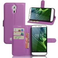 Чехол портмоне подставка на силиконовой основе на магнитной защелке для Acer Liquid Zest Plus  Фиолетовый