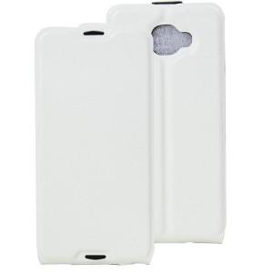Чехол вертикальная книжка на силиконовой основе с отсеком для карт на магнитной защелке для Alcatel Idol 4S Белый