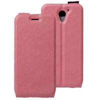 Чехол вертикальная книжка на силиконовой основе с отсеком для карт на магнитной защелке для ZTE Blade A510 Розовый