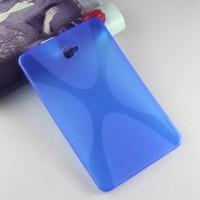 Силиконовый матовый полупрозрачный чехол с дизайнерской текстурой X для Samsung Galaxy Tab A 10.1 (2016)  Синий