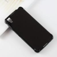 Силиконовый матовый полупрозрачный дизайнерский фигурный чехол с усиленными углами для Alcatel Idol 4/BlackBerry DTEK50 Черный