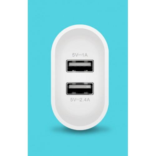 Универсальный сетевой 220В зарядный адаптер на 2 USB разъема 5В (2.4А и 1А)