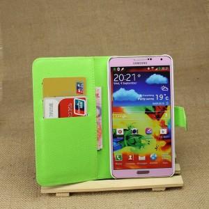 Чехол портмоне подставка на магнитной защелке для Samsung Galaxy Note 3 Зеленый