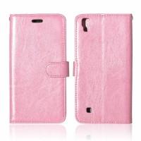 Чехол портмоне подставка на силиконовой основе на магнитной защелке для LG X Power  Розовый