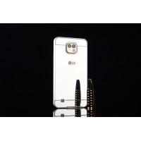 Двухкомпонентный чехол c металлическим бампером с поликарбонатной накладкой и зеркальным покрытием для LG X cam  Черный