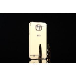 Двухкомпонентный чехол c металлическим бампером с поликарбонатной накладкой и зеркальным покрытием для LG X cam