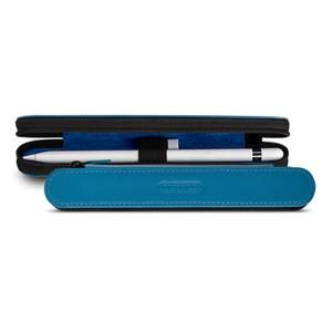 Кожаный жесткий футляр (нат. кожа) для Apple Pencil на молнии Голубой
