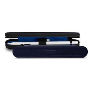 Кожаный жесткий футляр (нат. кожа) для Apple Pencil на молнии Синий