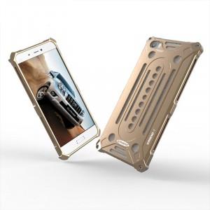 Цельнометаллический противоударный чехол из авиационного алюминия на винтах с мягкой внутренней защитной прослойкой для гаджета с прямым доступом к разъемам для Xiaomi MI5 Бежевый