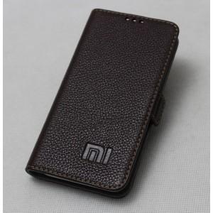 Кожаный чехол горизонтальная книжка подставка (премиум нат. кожа) с крепежной застежкой для Xiaomi MI5  Коричневый