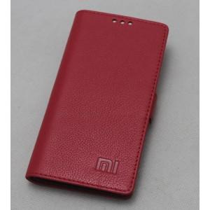 Кожаный чехол горизонтальная книжка подставка (премиум нат. кожа) с крепежной застежкой для Xiaomi MI5  Красный