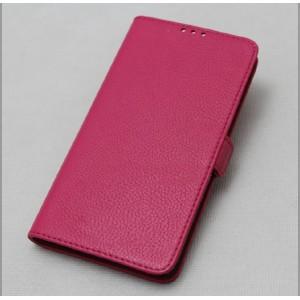 Кожаный чехол горизонтальная книжка подставка (премиум нат. кожа) с крепежной застежкой для Xiaomi MI5  Розовый