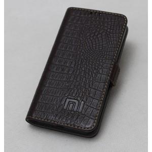 Кожаный чехол горизонтальная книжка подставка (премиум нат. кожа крокодила) с крепежной застежкой для Xiaomi MI5  Коричневый