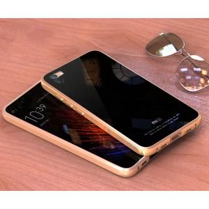 Двухкомпонентный чехол c металлическим бампером с поликарбонатной накладкой и поверхностью из закаленного стекла для Xiaomi MI5