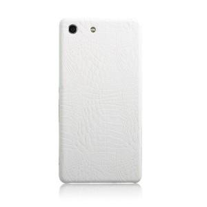 Чехол накладка текстурная отделка Кожа для Sony Xperia M5  Белый
