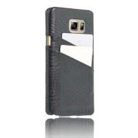 Чехол накладка текстурная отделка Кожа с отсеком для карт для Samsung Galaxy Note 5  Черный