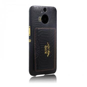 Чехол накладка текстурная отделка Кожа с отсеком для карт и функцией подставки для HTC One M9+