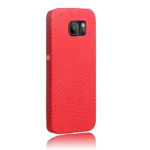 Чехол накладка текстурная отделка Кожа для Samsung Galaxy S7  Красный
