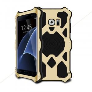 Эксклюзивный многомодульный ультрапротекторный пылевлагозащищенный ударостойкий нескользящий чехол алюминиево-цинковый сплав/силиконовый полимер для Samsung Galaxy S7 Edge  Бежевый