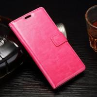 Глянцевый чехол портмоне подставка на силиконовой основе на магнитной защелке для Sony Xperia E5  Розовый