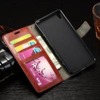 Глянцевый чехол портмоне подставка на силиконовой основе на магнитной защелке для Sony Xperia E5  Белый