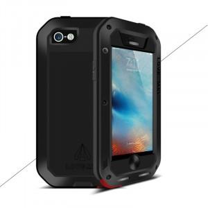 Эксклюзивный многомодульный ультрапротекторный пылевлагозащищенный ударостойкий нескользящий чехол алюминиево-цинковый сплав/силиконовый полимер с закаленным защитным стеклом для Iphone 5/5s/SE Черный